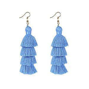 🆕Powder Blue 4 Layer Fiesta Tassel Earrings